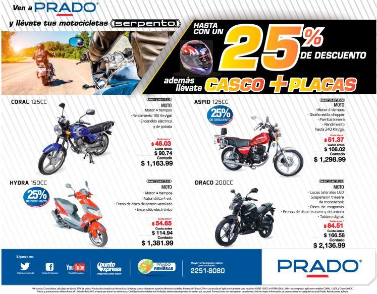 PRADO venta de MOTOS descuento hasta 25 OFF incluye casco y placas