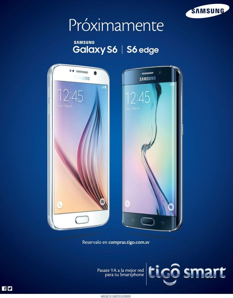 Proximamente TIGO el salvador SAMSUNG Galaxy S6 and S6 EDGE