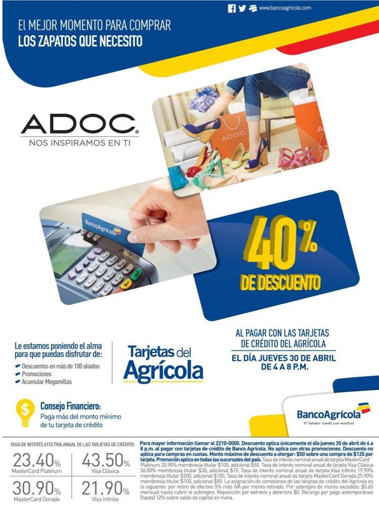 ZAPATOS ADOC con 40 OFF con tarjetas del banco agricola - 30abr15