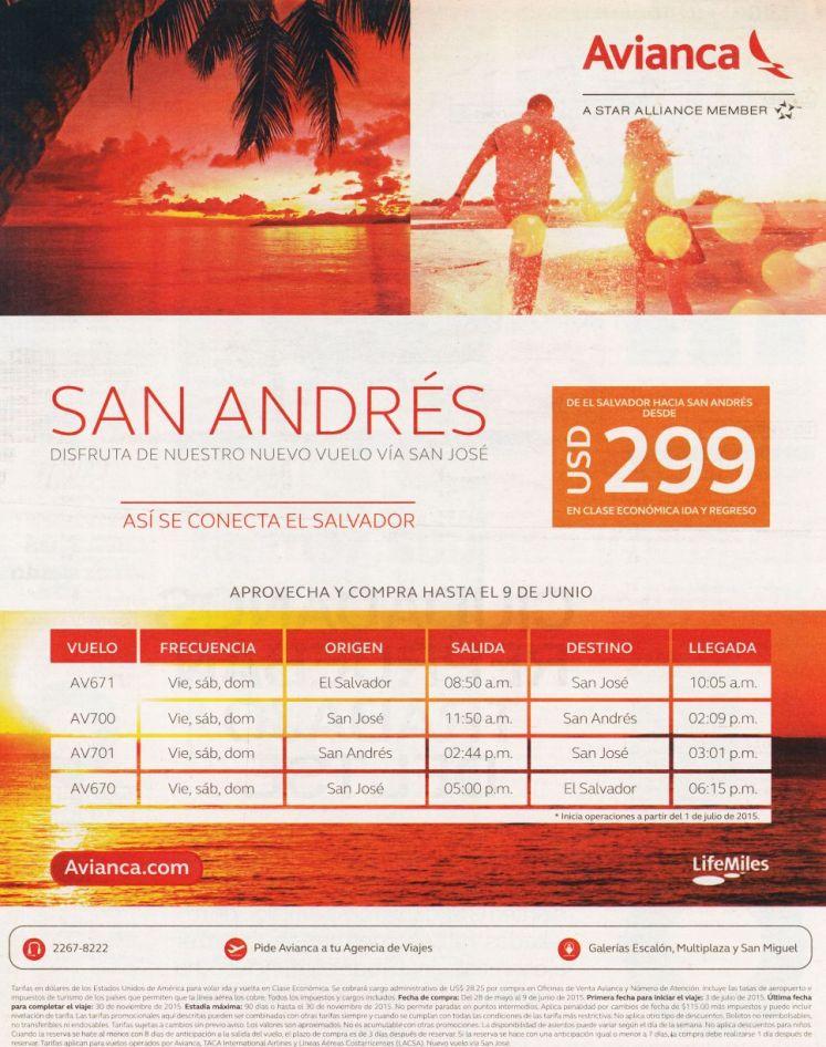 Ofertas vuelo aereo a SAN ANDRES por solo 299 dolares via AVINACA