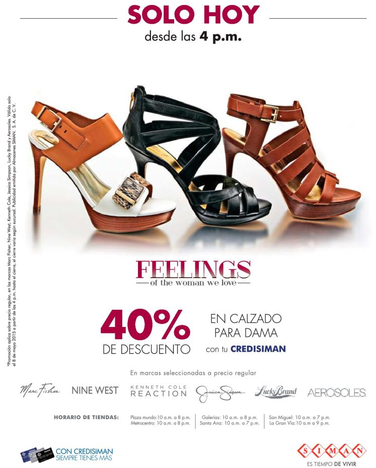 SOLO HOY  40 OFF en calzado para damas co tu CREDISIMAN - 08may15