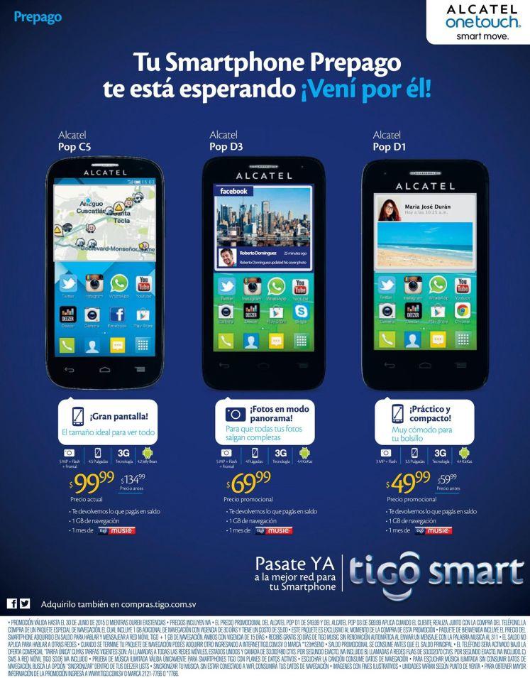 smartphones ALCATEL desde 49.99 dolares TIGO smart deals