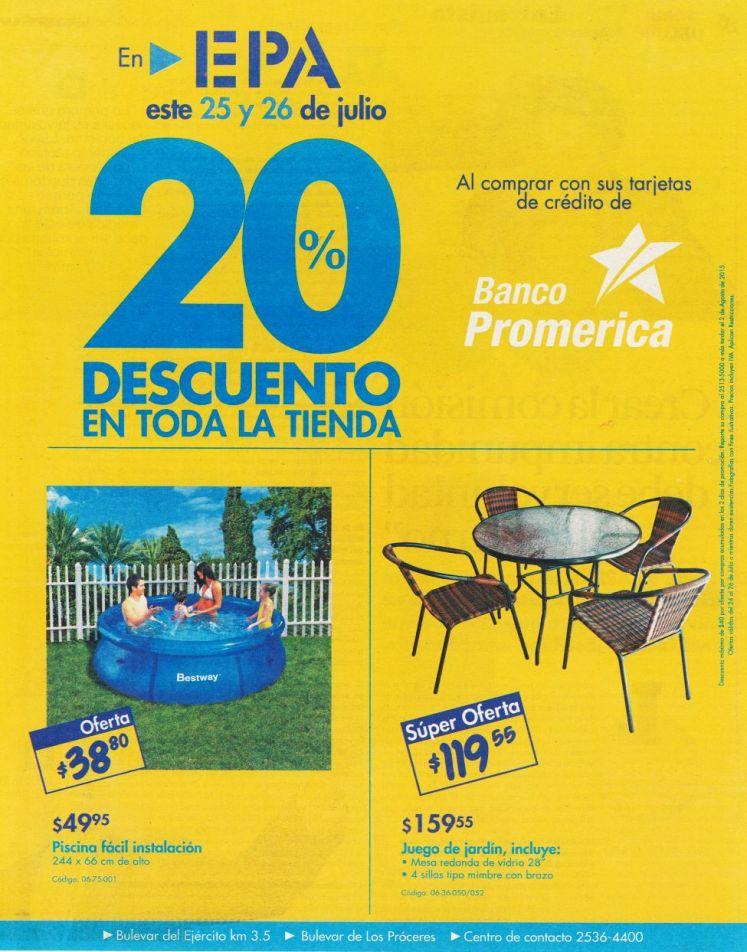 Fin de Semana con 20 OFF en Ferreteria EPA con tus tarjetas de BANCO Promerica - 24jul15