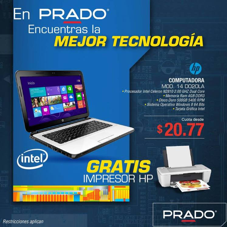 HP laptop intel celeron N2810 dual core PRADO promociones