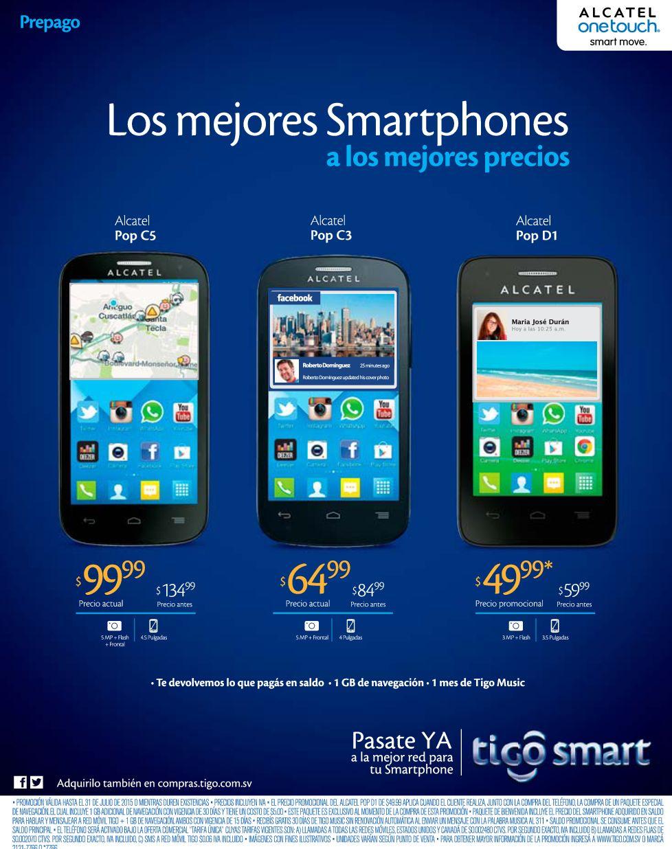Precios con rebajas en celulares ALCATEL de TIGO - Ofertas
