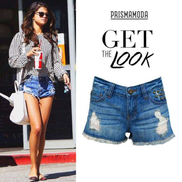 get the look SELENA GOMEZ weekend Ripped Short jeans