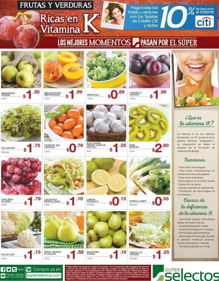 Frutas y verduras ricas en vitamina K conoce sus funciones