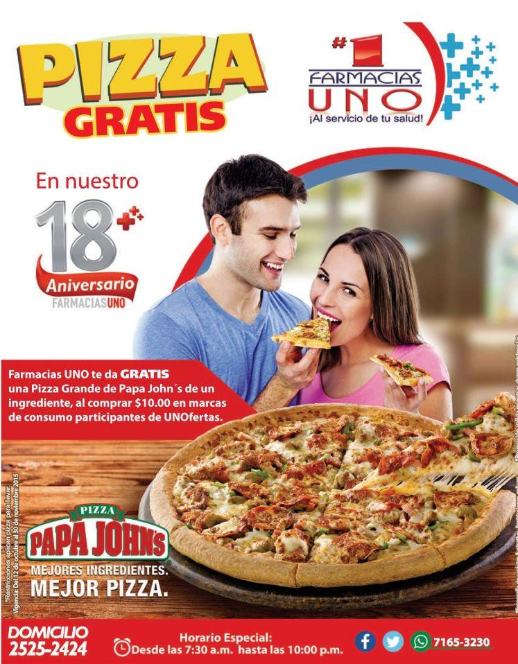 PIZZA papa john gratis por tus compras en farmacias UNO