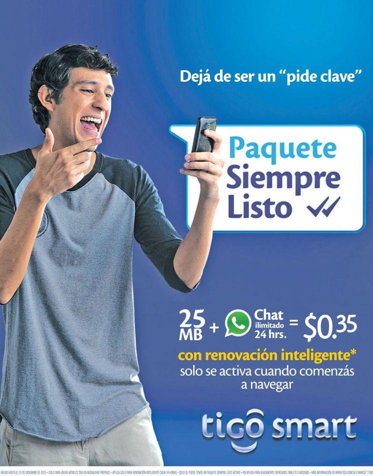 Paquete siempre listo de TIGO internet mas whatsapp por 35 centavos