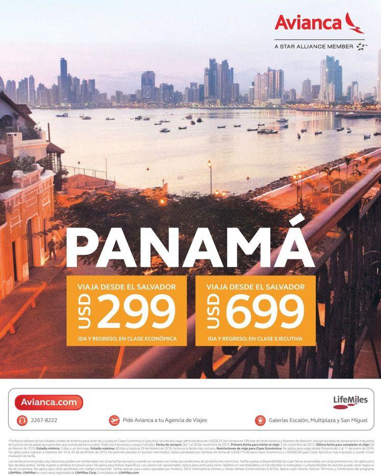 PANAMA city escoge tu tarifa y estilo de viaje via AVIANCA