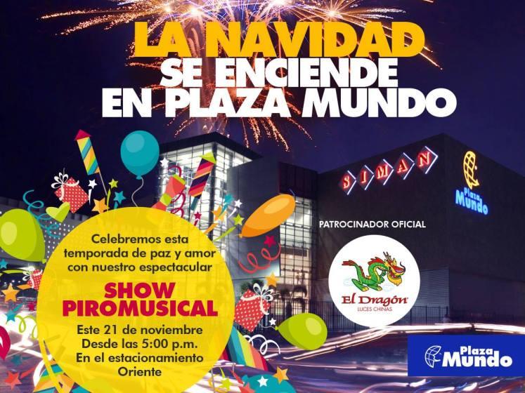 SHOW Pirotecnico Musical 2015 gracias a PLAZA MUNDO el savador