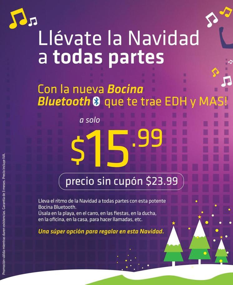 CUPONES para BOCINA portatil bluetooth de EDH y mAS