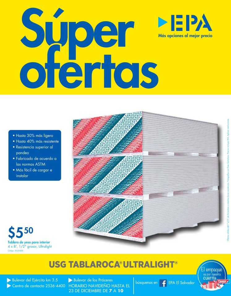 Super ofertas de navidad TABLAROCA ULTRALIGHT de EPA_1