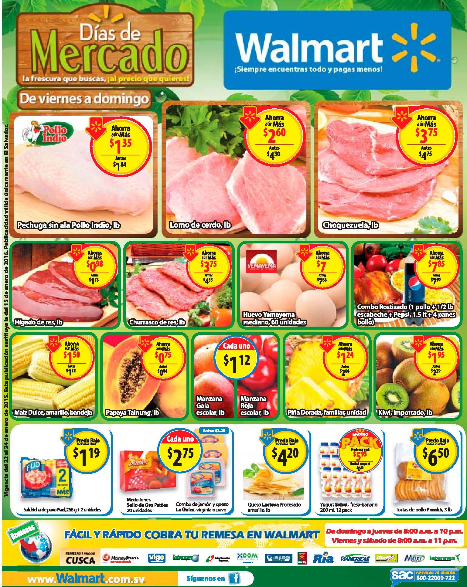 WALMART ofertas de Fin de semana en frutas y verduras - 22ene16