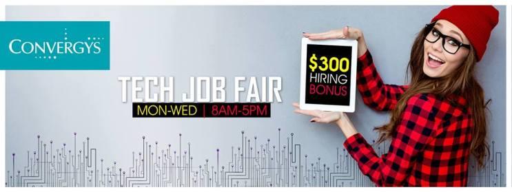 tech JOB fair convergys el salvador ENERO 2016 bonus 300 dollars