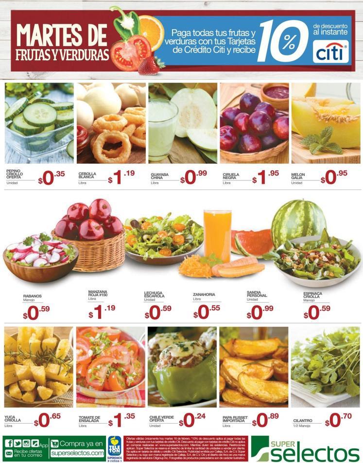 Ahora martes 16 de febrero es dia de frutar y verduras