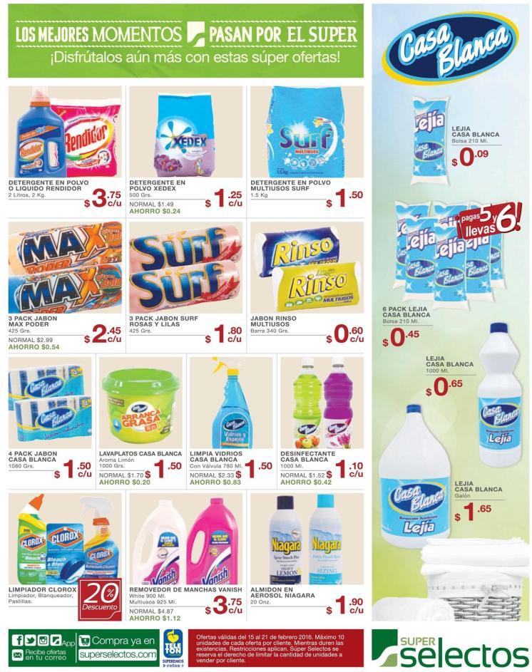 Precio en oferta en prodcutos de lavado de ropa