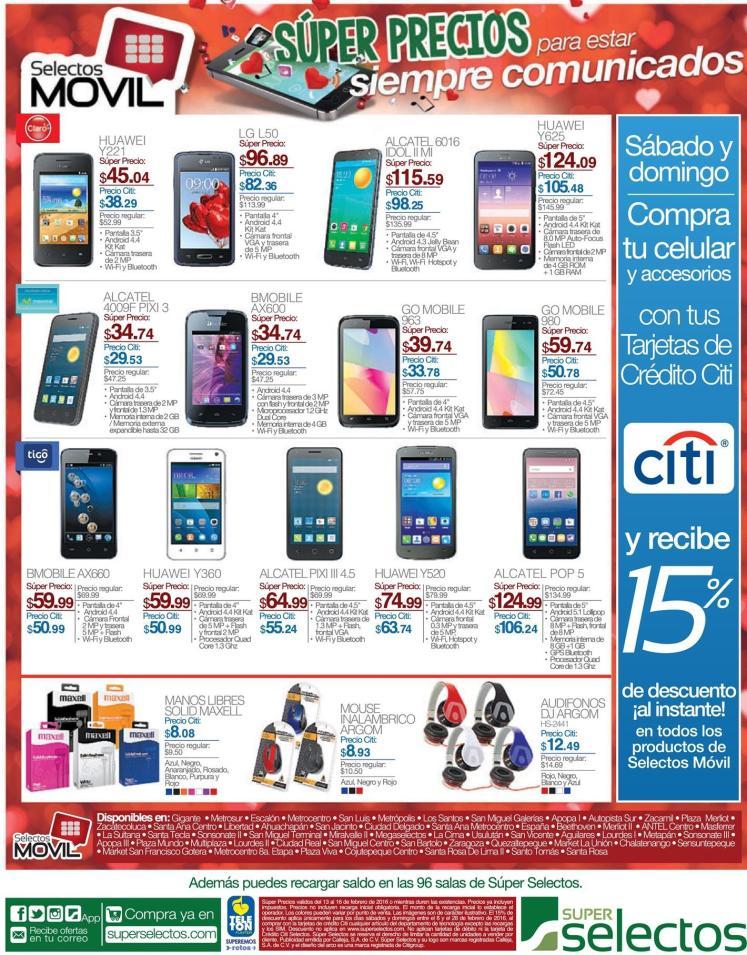 Promociones de precios en clulares y gadgets  selectos movil - 13feb16