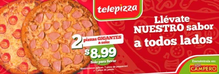 2 pizza gigantes por tan solo ocho dolares 99 centavos