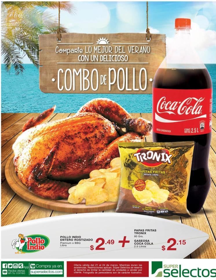 COMBO de pollo rostizado para llevara a la playa mas coca cola