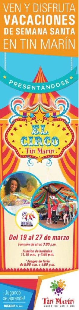HEY ven a disfrutar de circo TIN MARIN en semana santa