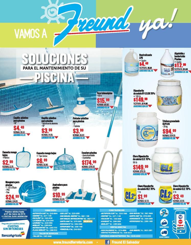 Promociones en materiales de mantenimiento de piscina en semana santa