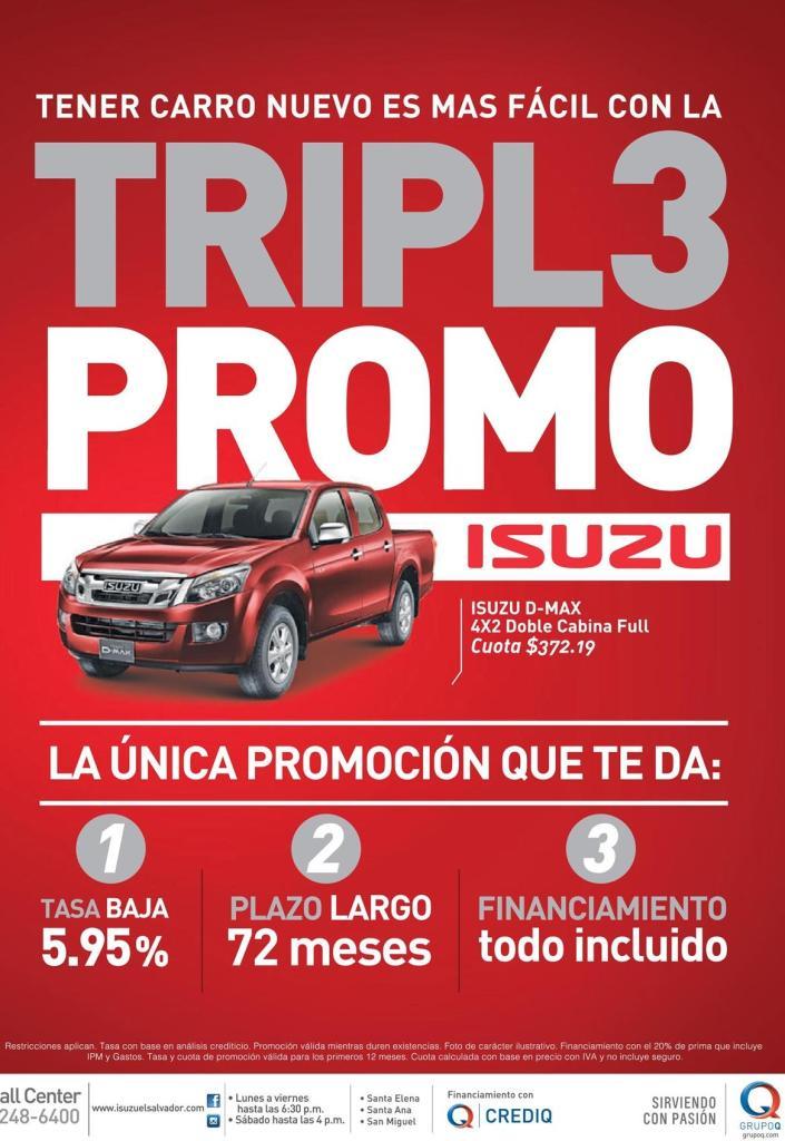 Tener carro nuevo ISUZU pick up promotion CREDI Q el salvador