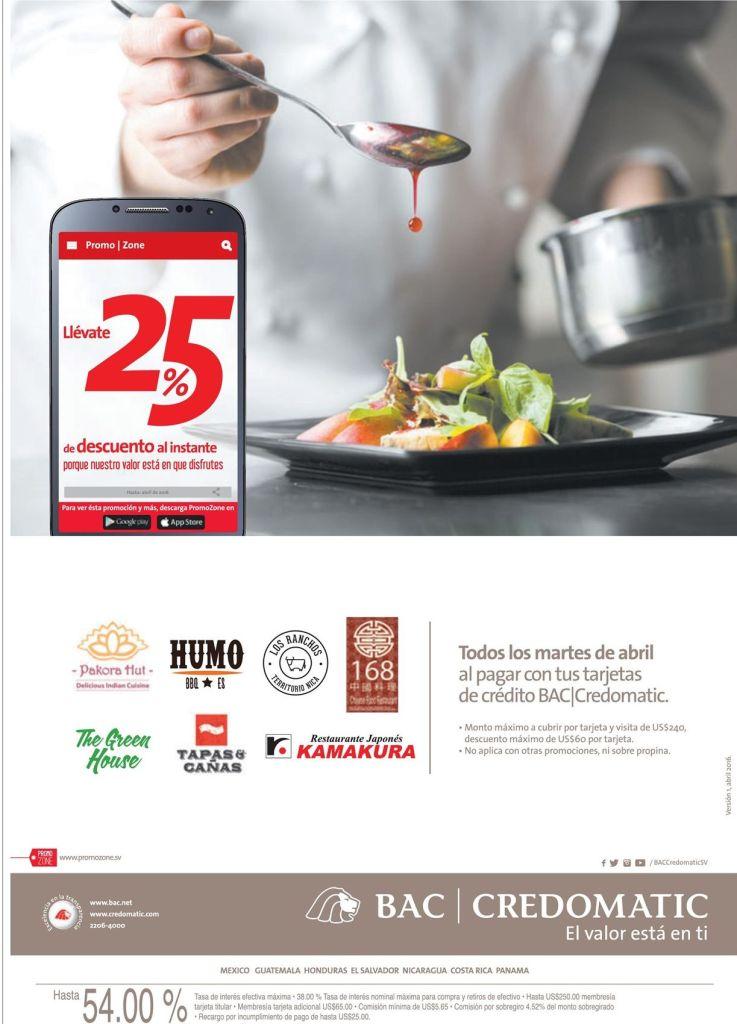 CREDOMATIC presenta sus descuentos en restaurantes via PROMO ZONE