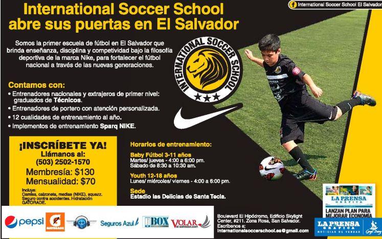 Escuela de futbol INTERNATIONAL soccer school el salvador