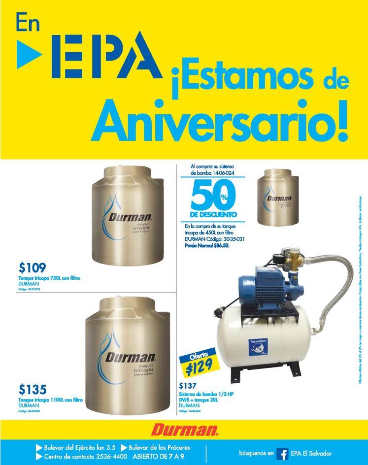 Ferreteria EPA solucion a los corte agua potable ofertas en tanques DURMAN