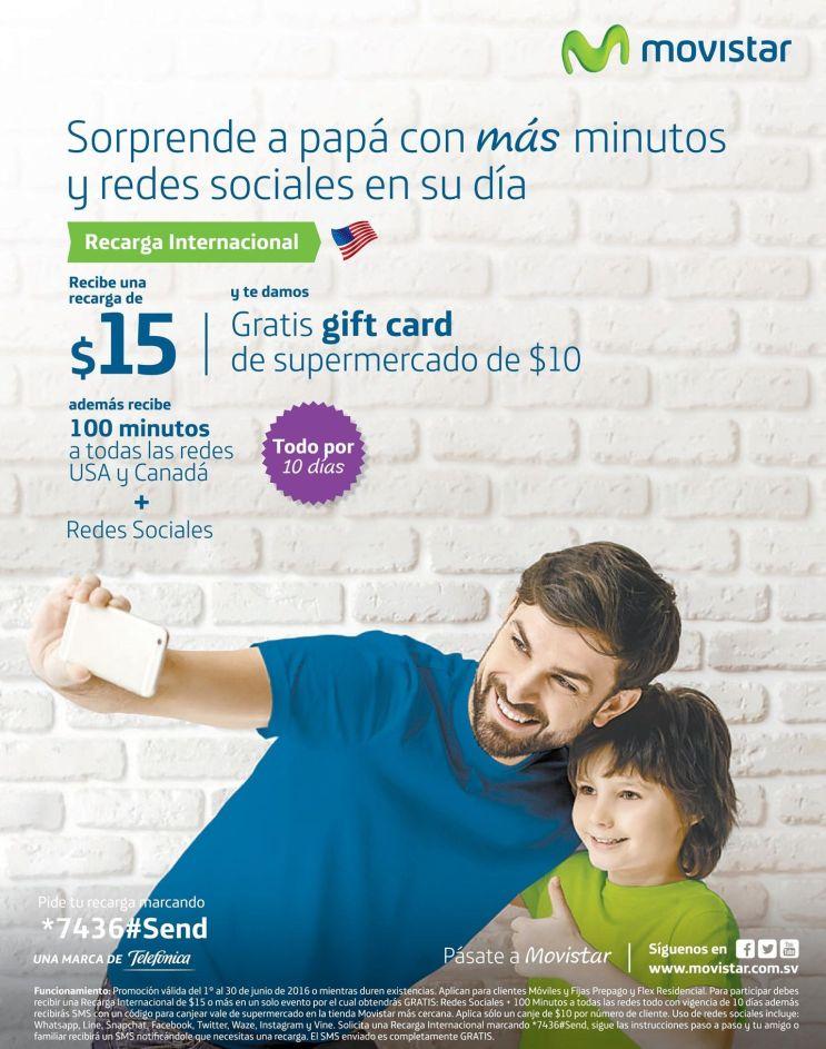 Super regalo para PAPA con tu recarga MOVISTAR de 15 dolares