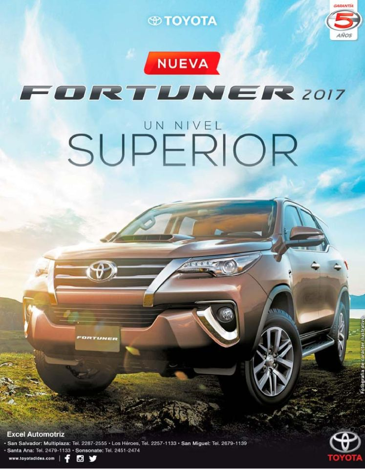 TOYOTA fortunner 2017 up level