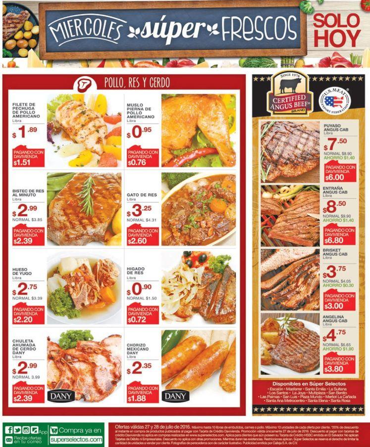 Carnes Chorizos y POllo a buen precio en super selectos