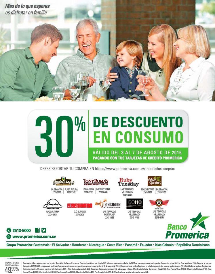 banco Promerico descuento 30 OFF en tu consumos de los siguientes restaurantes