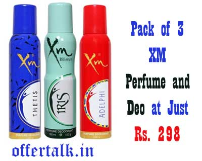 Get Pack of 3 XM   Perfume and Deodorant Combo at Just Rs. 298 Only perfume deodorants