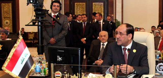 Iraqi Prime Minister Nouri al-Maliki attends the opening session of the Arab League Summit in Baghdad, Iraq, 29 March 2012.