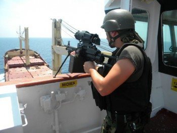 Turkish Navy SAT Commando on the deck of a first aid ship during the escorting mission at Gulf of Aden.