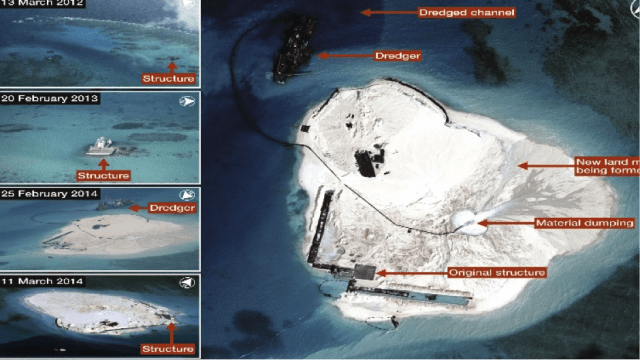 Airbus Defence and Space imagery shows land reclamation ongoing at Johnson South Reef in the South China Sea. Images released by the Philippine Ministry of Foreign Affairs on 15 May 2014 (left) show the progress of construction on the reef from 13 March 2012 to 11 March 2014 (Source: IHS Jane).