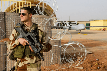 French Air Force Soldier guarding Harfang UAV Drones in Niger, March 2013.