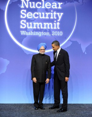 United States President Barack Obama welcomes Prime Minister Manmohan Singh of India to the Nuclear Security Summit at the Washington Convention Center, Monday, April 12, 2010 in Washington, DC. UPI/Ron Sachs/Pool