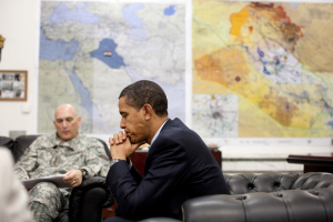 President Barack Obama meets with General Raymond T. Odierno, Commanding General, Multi-National Force-Iraq, during the President's visit with U.S. troops at Camp Victory, Baghdad, Iraq 07.04.2009. Official White House Photo by Pete Souza.
