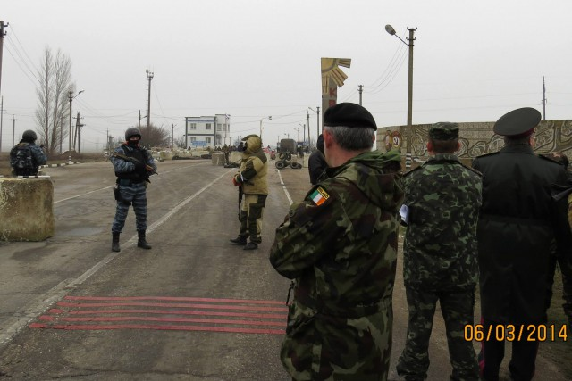 To dispel concerns about unusual military activities, 47 military and civilian personnel from 25 OSCE participating States unsuccesfully attempted to enter the Crimea region at the Armyansk crossing point on 6 March 2014. Two checkpoints have been set up, one by Ukrainian forces, and a second by unidentified military personnel.