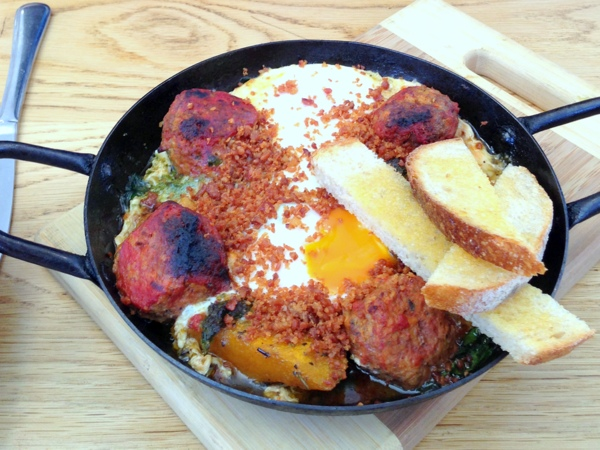 Baked eggs and meatballs