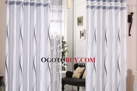 simplicity streamlined white and gray blue polycotton blend modern curtain oby14235 1