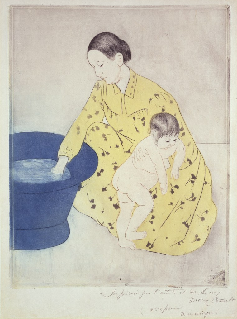 Mary Cassatt, The Bath, 1891; Etching on paper, 12 3/8 x 9 5/8 in.; Gift of Wallace and Wilhelmina Holladay