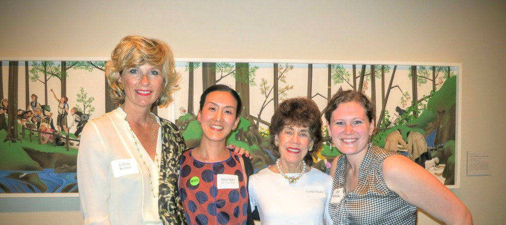 Mimi Kato in front of her work with OAG Founders Barbara Richter and Harriet Warm and Women to Watch intern Jen Rokoski (far right)