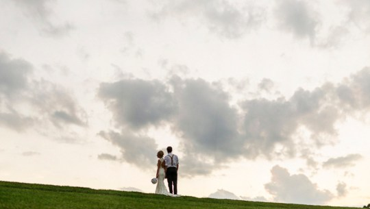 couple at sunset in this handmade North Carolina wedding
