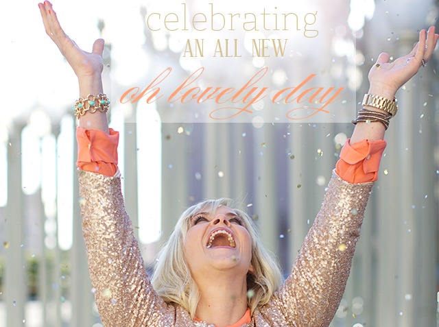celebrating oh lovely day | throwing sequin confetti | photo by amy stone