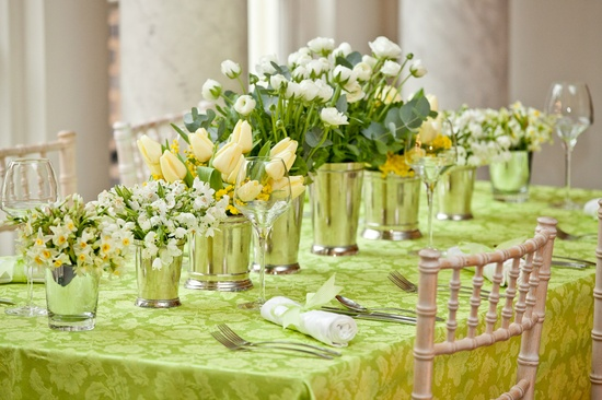 spring wedding green and yellow florals