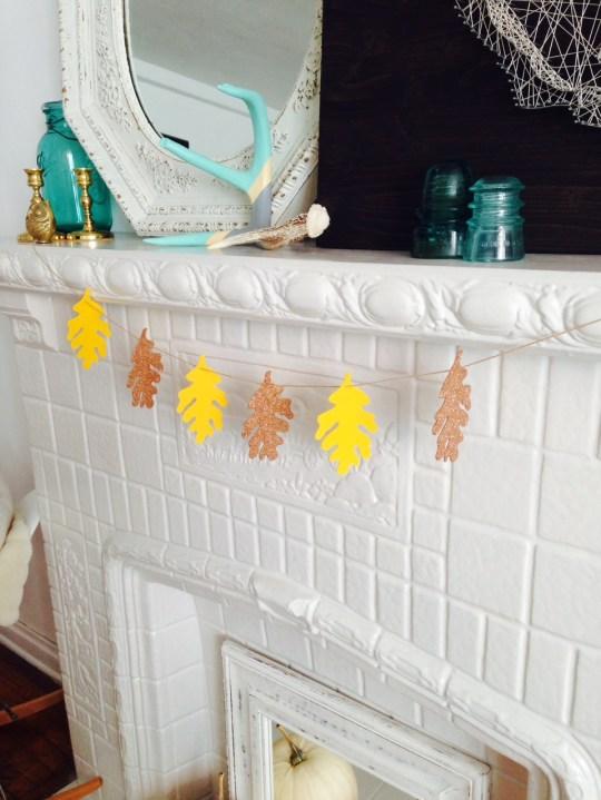 DIY Fall Glitter Leaf Garland   Oh Lovely Day